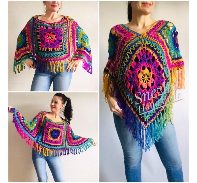 Poncho Women, Plus size Festival boho clothing, Crochet Triangle Shawl Wraps Fringe, Vegan Poncho Men Pride Hand Knit gypsy Mom Gift Rainbow  Poncho  1