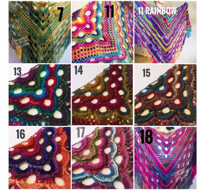 Poncho Women, Plus size Festival boho clothing, Crochet Triangle Shawl Wraps Fringe, Vegan Poncho Men Pride Hand Knit gypsy Mom Gift Rainbow  Poncho  10
