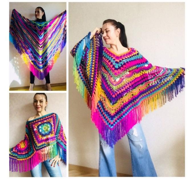 Poncho Women, Plus size Festival boho clothing, Crochet Triangle Shawl Wraps Fringe, Vegan Poncho Men Pride Hand Knit gypsy Mom Gift Rainbow  Poncho  2
