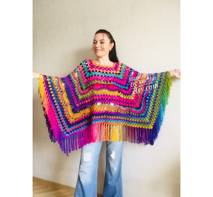 Poncho Women, Plus size Festival boho clothing, Crochet Triangle Shawl Wraps Fringe, Vegan Poncho Men Pride Hand Knit gypsy Mom Gift Rainbow  Poncho  3