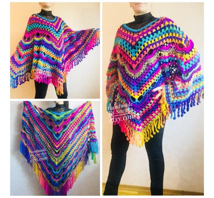 Poncho Women, Plus size Festival boho clothing, Crochet Triangle Shawl Wraps Fringe, Vegan Poncho Men Pride Hand Knit gypsy Mom Gift Rainbow  Poncho  5