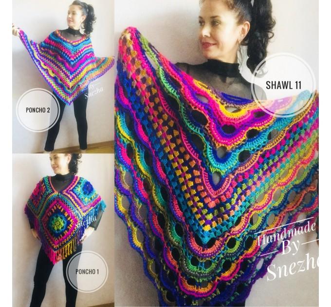 Poncho Women, Plus size Festival boho clothing, Crochet Triangle Shawl Wraps Fringe, Vegan Poncho Men Pride Hand Knit gypsy Mom Gift Rainbow  Poncho  8