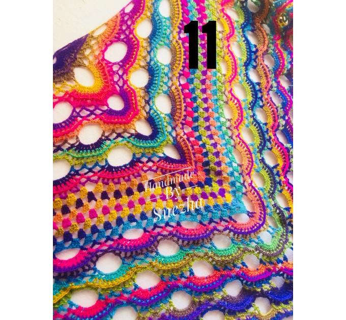 Poncho Women, Plus size Festival boho clothing, Crochet Triangle Shawl Wraps Fringe, Vegan Poncho Men Pride Hand Knit gypsy Mom Gift Rainbow  Poncho  9