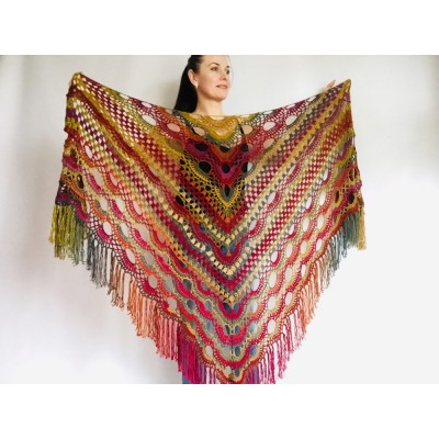 Boho crochet shawl Festival Clothing Woman Poncho, Plus Size Man poncho Triangle scarf Unisex oversize outlander hand knit long fringe shawl