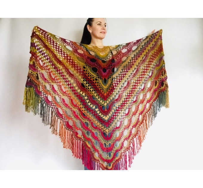 Boho crochet shawl Festival Clothing Woman Poncho, Plus Size Man poncho Triangle scarf Unisex oversize outlander hand knit long fringe shawl  Shawl / Wraps