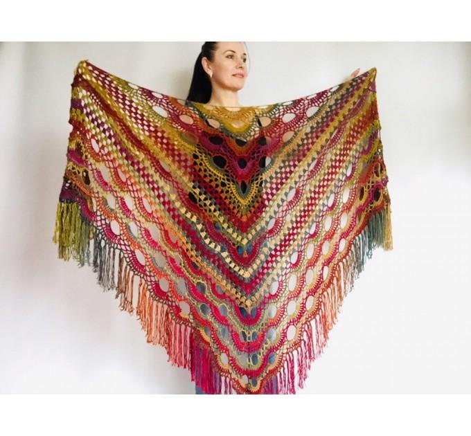 Boho crochet shawl Festival Clothing Woman Poncho, Plus Size Man poncho Triangle scarf Unisex oversize outlander hand knit long fringe shawl  Shawl / Wraps  1
