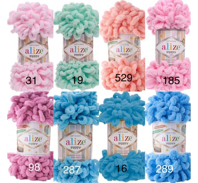 ALIZE PUFFY Yarn, Gradient Rainbow Plush Baby blanket yarn No hook No neddle Yarn on the fingers, Finger yarn, Velvet Super chunky yarn  Yarn  4
