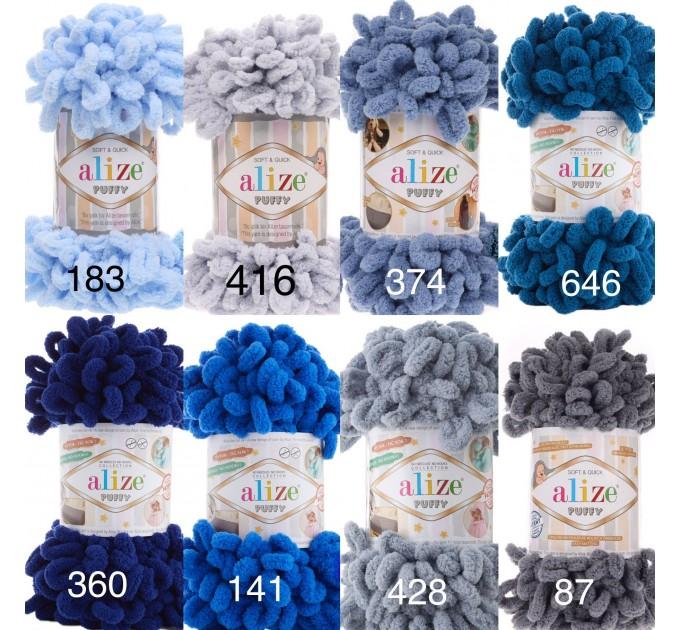 ALIZE PUFFY Yarn, Gradient Rainbow Plush Baby blanket yarn No hook No neddle Yarn on the fingers, Finger yarn, Velvet Super chunky yarn  Yarn  5