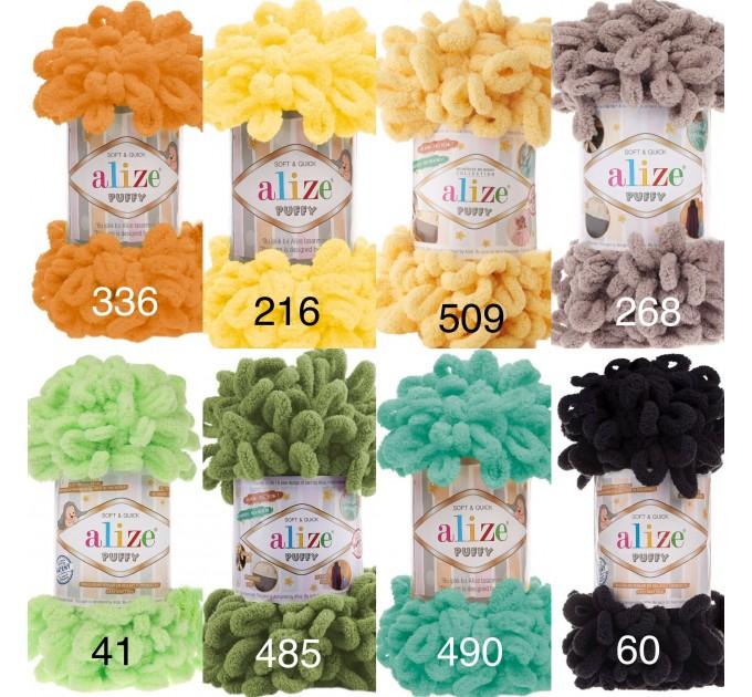 ALIZE PUFFY Yarn, Gradient Rainbow Plush Baby blanket yarn No hook No neddle Yarn on the fingers, Finger yarn, Velvet Super chunky yarn  Yarn  7