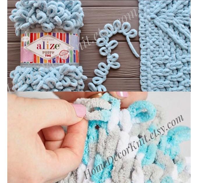 ALIZE PUFFY FINE Yarn, Crochet Yarn Gradient Baby Rainbow Blanket Yarn, No hook No neddle Easy Knitting Yarn, Velvet Bulky Super Chunky Yarn  Yarn  2