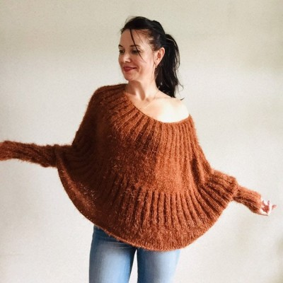 Burnt Orange Mohair Sweater, Loose Knit Sweater Poncho Woman, White Oversized Sexy Wool Sweater Off Shoulder Faux Fur, Crochet Poncho