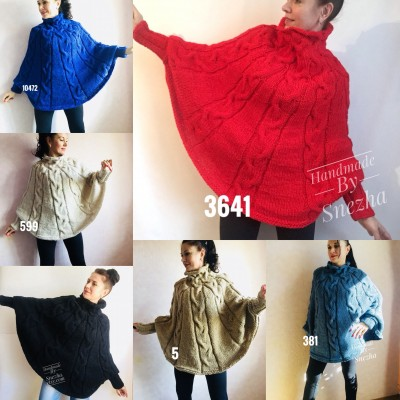 Hand knit poncho Women Crochet poncho XL sweater Knit Gray XXL poncho Black wool poncho Knit cable poncho Ivory knit poncho X Beige wrap Red