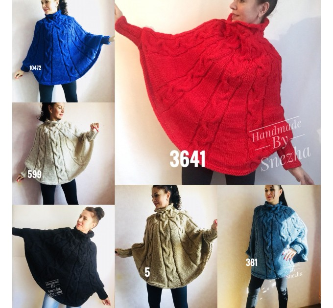 Hand knit poncho Women Crochet poncho XL sweater Knit Gray XXL poncho Black wool poncho Knit cable poncho Ivory knit poncho X Beige wrap Red  Poncho  1