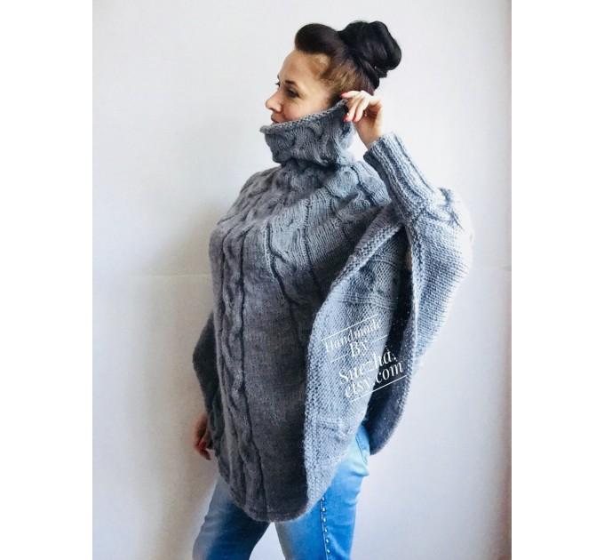 Hand knit poncho Women Crochet poncho XL sweater Knit Gray XXL poncho Black wool poncho Knit cable poncho Ivory knit poncho X Beige wrap Red  Poncho  5