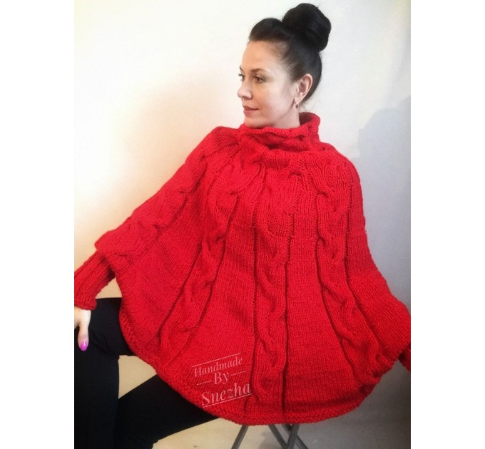 Hand knit poncho Women Crochet poncho XL sweater Knit Gray XXL poncho Black wool poncho Knit cable poncho Ivory knit poncho X Beige wrap Red  Poncho  6