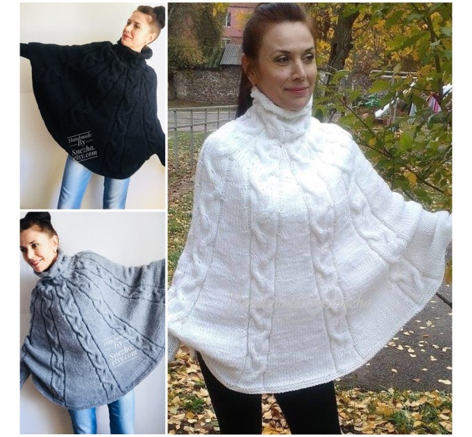 Hand knit poncho Women Crochet poncho XL sweater Knit Gray XXL poncho Black wool poncho Knit cable poncho Ivory knit poncho X Beige wrap Red  Poncho  8