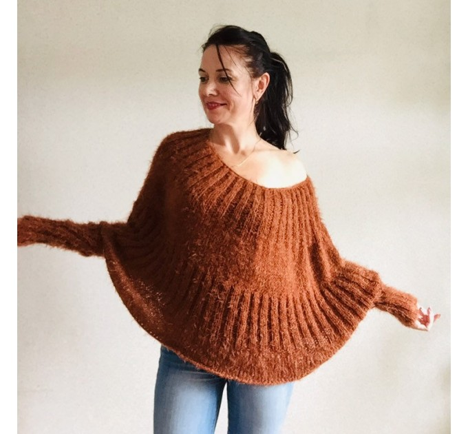 Burnt Orange Mohair Sweater, Loose Knit Sweater Poncho Woman, White Oversized Sexy Wool Sweater Off Shoulder Faux Fur, Crochet Poncho  Sweater