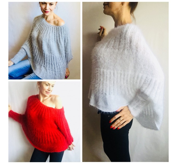 Burnt Orange Mohair Sweater, Loose Knit Sweater Poncho Woman, White Oversized Sexy Wool Sweater Off Shoulder Faux Fur, Crochet Poncho  Sweater  2