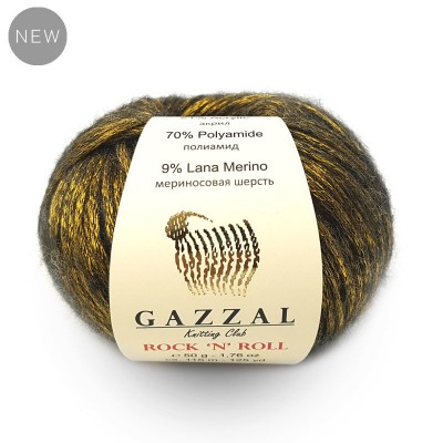 GAZZAL ROCK N ROLL Yarn Wool Yarn Shiny Yarn Crochet Sweater Pullover Shawl Hat Knitting Scarf Cardigan Poncho