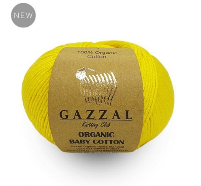 Gazzal ORGANIC BABY COTTON Yarn Organic 100 Cotton Yarn Hypoallergenic Yarn Vegan Yarn Booties Crochet Sweater Poncho Pullover  Yarn