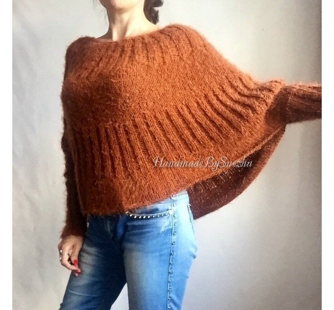 MOHAIR SWEATER Knit Poncho Woman Crochet Poncho Loose Fuzzy Hand Knit Sweater Faux Fur Pullover Oversize Cable Sweater White Red Black Gray  Sweater  5