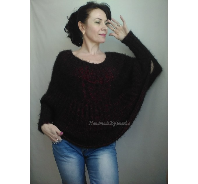 MOHAIR SWEATER Knit Poncho Woman Crochet Poncho Loose Fuzzy Hand Knit Sweater Faux Fur Pullover Oversize Cable Sweater White Red Black Gray  Sweater  8