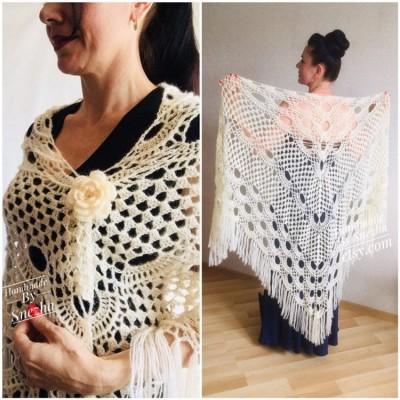 Ivory Wedding shawl, Bridesmaid shawl, Bridal Shawl Wedding Cape Crochet Lace Shawl Wrap Triangle fringe Hand Knit Wool Mother of groom gift