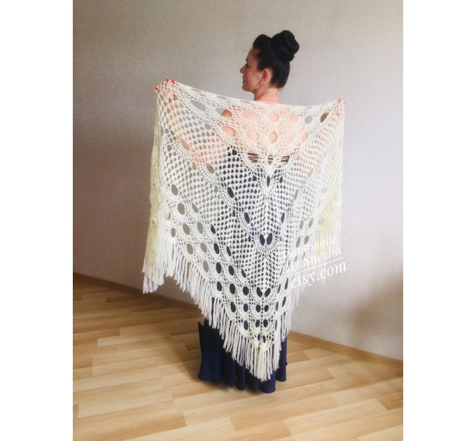 Ivory Wedding shawl, Bridesmaid shawl, Bridal Shawl Wedding Cape Crochet Lace Shawl Wrap Triangle fringe Hand Knit Wool Mother of groom gift  Shawl / Wraps  3