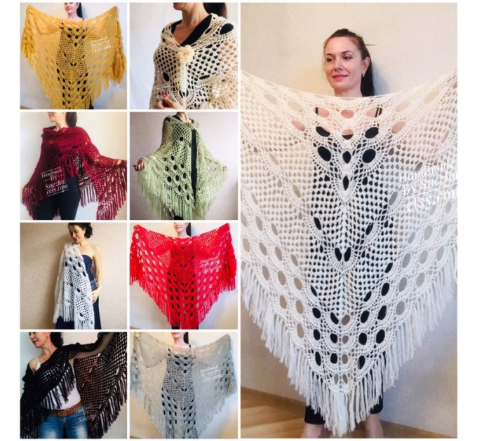 Ivory Wedding shawl, Bridesmaid shawl, Bridal Shawl Wedding Cape Crochet Lace Shawl Wrap Triangle fringe Hand Knit Wool Mother of groom gift  Shawl / Wraps  5