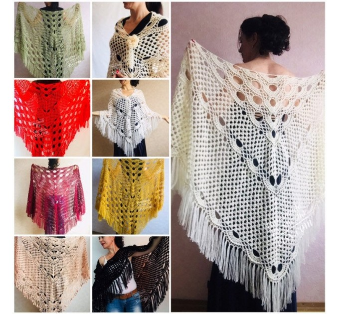 Ivory Wedding shawl, Bridesmaid shawl, Bridal Shawl Wedding Cape Crochet Lace Shawl Wrap Triangle fringe Hand Knit Wool Mother of groom gift  Shawl / Wraps  6