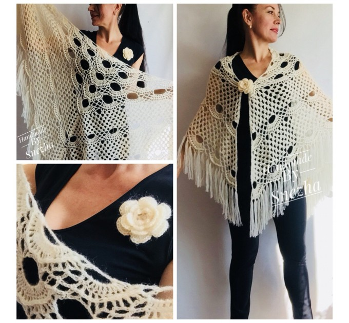 Ivory Wedding shawl, Bridesmaid shawl, Bridal Shawl Wedding Cape Crochet Lace Shawl Wrap Triangle fringe Hand Knit Wool Mother of groom gift  Shawl / Wraps  7