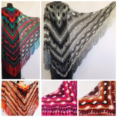 Black Outlander Crochet Shawl Wraps Fringe Burnt Orange Gift pin brooch Triangle Boho Rainbow Shawl Multicolor Hand Knitted Evening Shawl