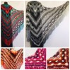 Black Outlander Crochet Shawl Wraps Fringe Burnt Orange Gift pin brooch Triangle Boho Rainbow Shawl Multicolor Hand Knitted Evening Shawl