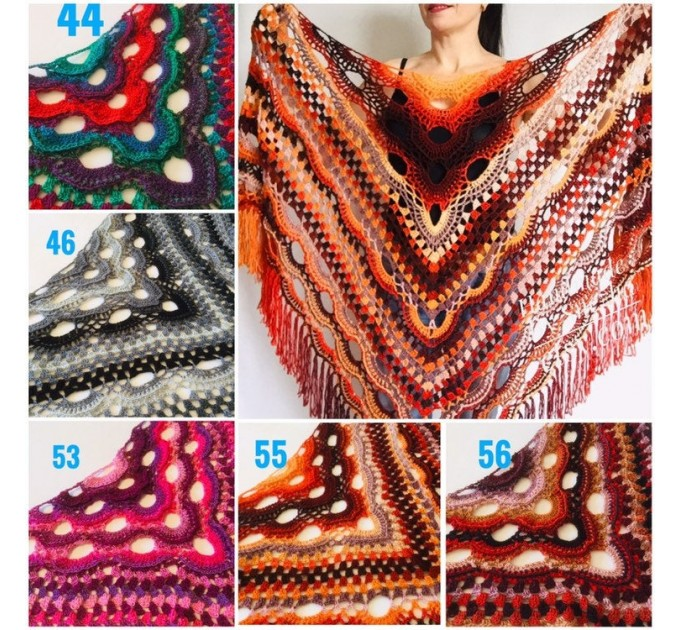 Crochet Shawl Wraps Outlander knitted festival woman Burnt Orange Triangle Scarf Fringe Multicolor Lace Evening Shawl Green Blue Red  Shawl / Wraps  10