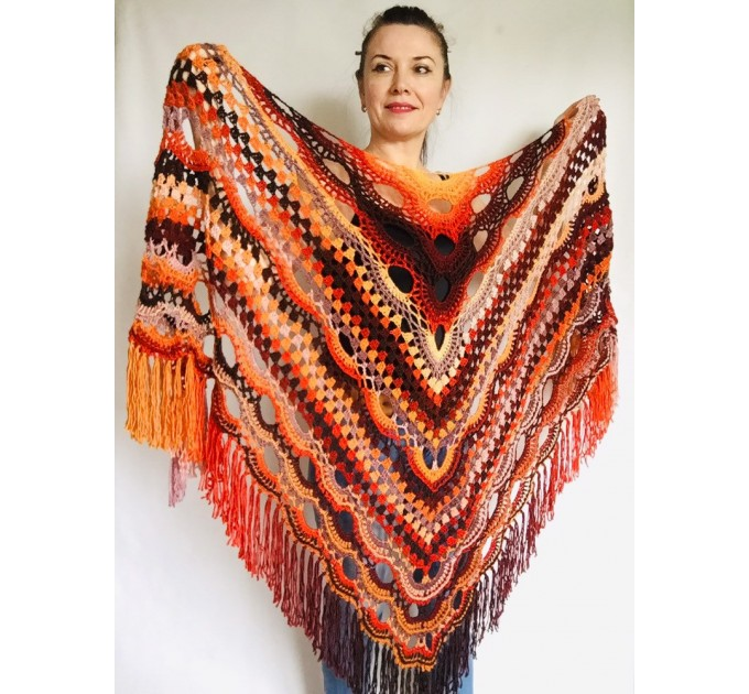Crochet Shawl Wraps Outlander knitted festival woman Burnt Orange Triangle Scarf Fringe Multicolor Lace Evening Shawl Green Blue Red  Shawl / Wraps  5
