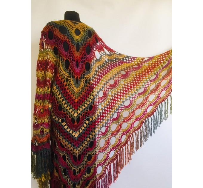 Crochet shawl wraps, Brown Outlander shawl pin brooch, Festival Boho hippie hand knit shawl vegan, Crochet triangle scarf gypsy Evening  Shawl / Wraps