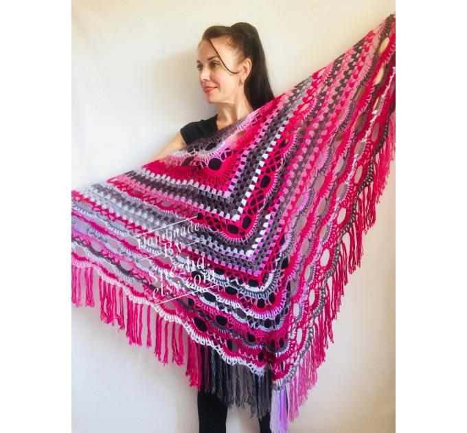 Crochet shawl wraps, Brown Outlander shawl pin brooch, Festival Boho hippie hand knit shawl vegan, Crochet triangle scarf gypsy Evening  Shawl / Wraps  5