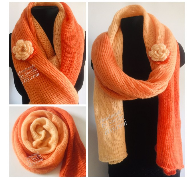 Burnt Orange hand knit scarf women mohair, Knitted Lace Gradient shawl wraps, Warm scarf men, Floral light oversized scarf long striped   Mohair / Alpaca