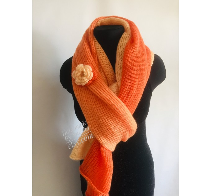Burnt Orange hand knit scarf women mohair, Knitted Lace Gradient shawl wraps, Warm scarf men, Floral light oversized scarf long striped   Mohair / Alpaca  2