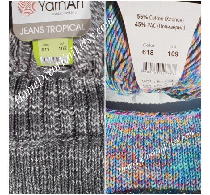 Cotton Yarn, YarnArt JEANS TROPICAL, Gradient Yarn, Knitting Yarn, Crochet, Multicolor Yarn, soft yarn, Baby Yarns Jeans Yarn Hypoallergenic  Yarn  2