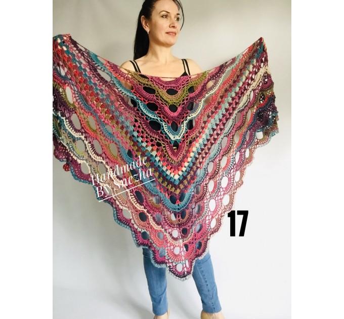 Crochet shawl wraps fringe, Outlander shawl pin brooch, Orange festival Boho hippie hand knit shawl vegan, Crochet triangle scarf Evening  Shawl / Wraps  4
