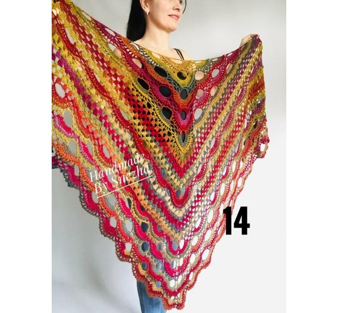 Crochet shawl wraps fringe, Outlander shawl pin brooch, Orange festival Boho hippie hand knit shawl vegan, Crochet triangle scarf Evening  Shawl / Wraps  5