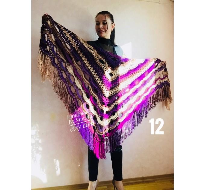 Crochet shawl wraps fringe, Outlander shawl pin brooch, Orange festival Boho hippie hand knit shawl vegan, Crochet triangle scarf Evening  Shawl / Wraps  7