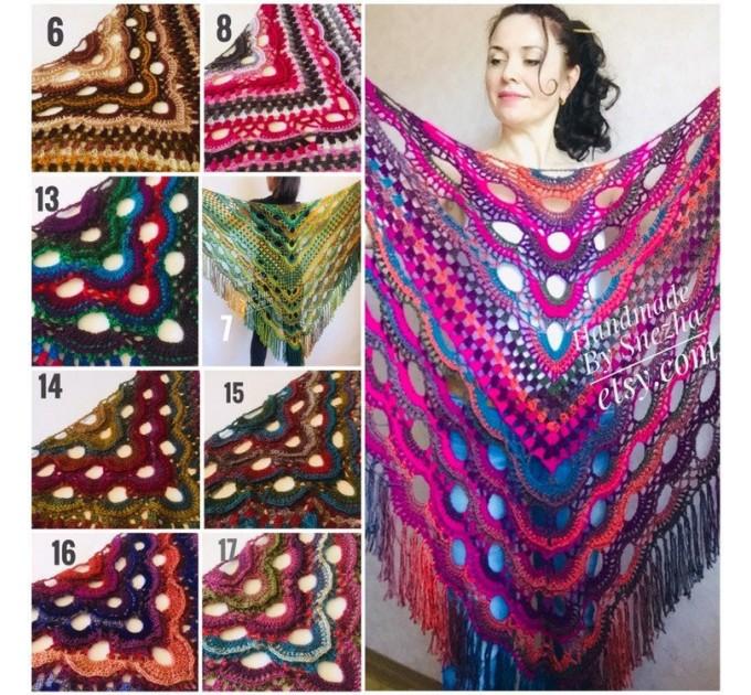 Crochet shawl wraps fringe, Outlander shawl pin brooch, Orange festival Boho hippie hand knit shawl vegan, Crochet triangle scarf Evening  Shawl / Wraps  9