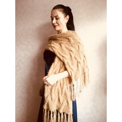 Hand Knit Scarf with Fringes, Cable Knit Scarf Chunky Womens Fringed Scarf Long Winter Scarf Ivory Wool Scarf Crochet Shawl Wrap with Fringe