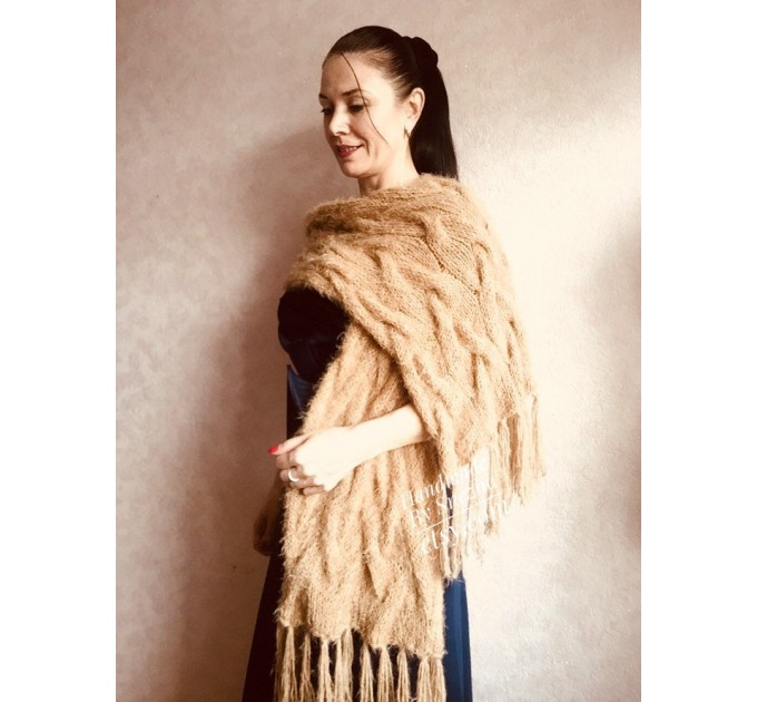 Hand Knit Scarf with Fringes, Cable Knit Scarf Chunky Womens Fringed Scarf Long Winter Scarf Ivory Wool Scarf Crochet Shawl Wrap with Fringe  Faux Fur  1
