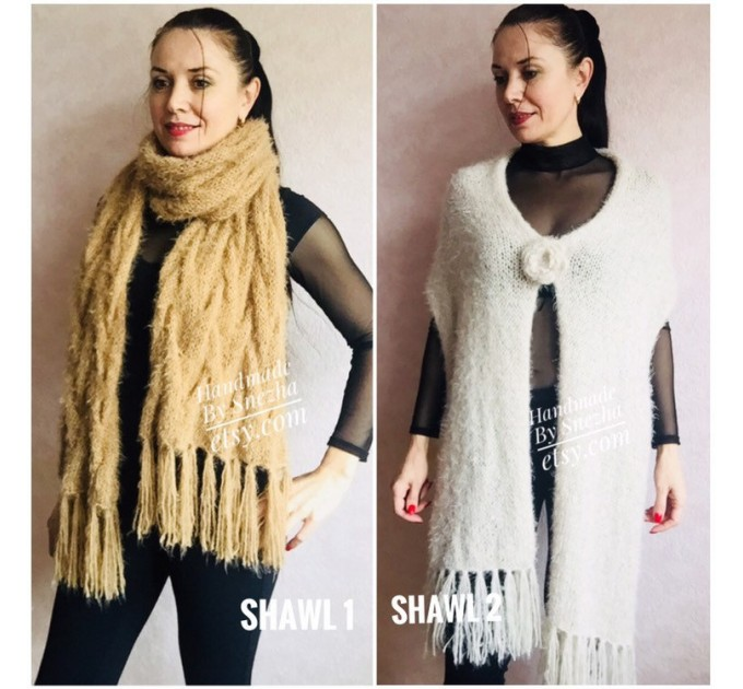 Hand Knit Scarf with Fringes, Cable Knit Scarf Chunky Womens Fringed Scarf Long Winter Scarf Ivory Wool Scarf Crochet Shawl Wrap with Fringe  Faux Fur  2