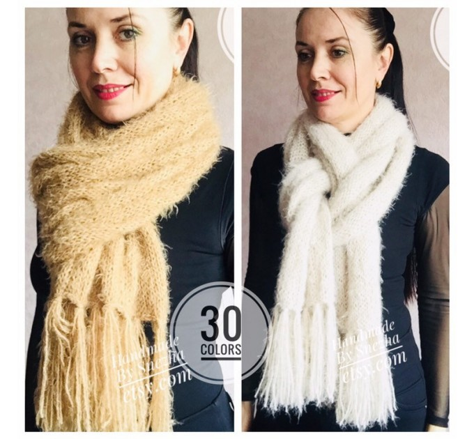 Hand Knit Scarf with Fringes, Cable Knit Scarf Chunky Womens Fringed Scarf Long Winter Scarf Ivory Wool Scarf Crochet Shawl Wrap with Fringe  Faux Fur  3
