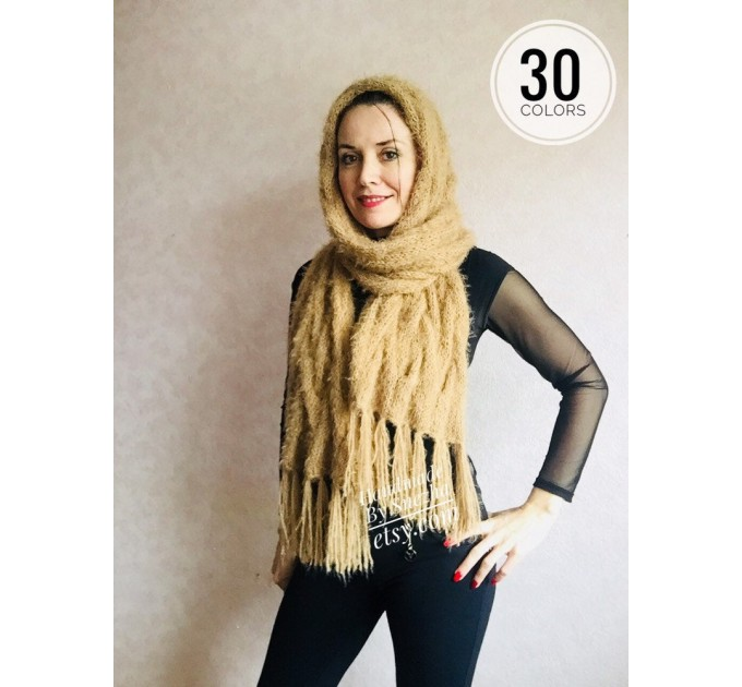 Hand Knit Scarf with Fringes, Cable Knit Scarf Chunky Womens Fringed Scarf Long Winter Scarf Ivory Wool Scarf Crochet Shawl Wrap with Fringe  Faux Fur  4