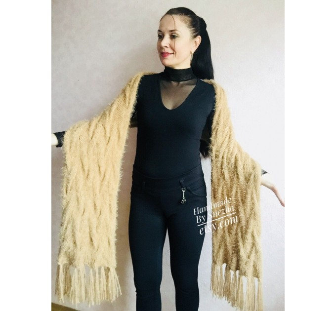 Hand Knit Scarf with Fringes, Cable Knit Scarf Chunky Womens Fringed Scarf Long Winter Scarf Ivory Wool Scarf Crochet Shawl Wrap with Fringe  Faux Fur  8